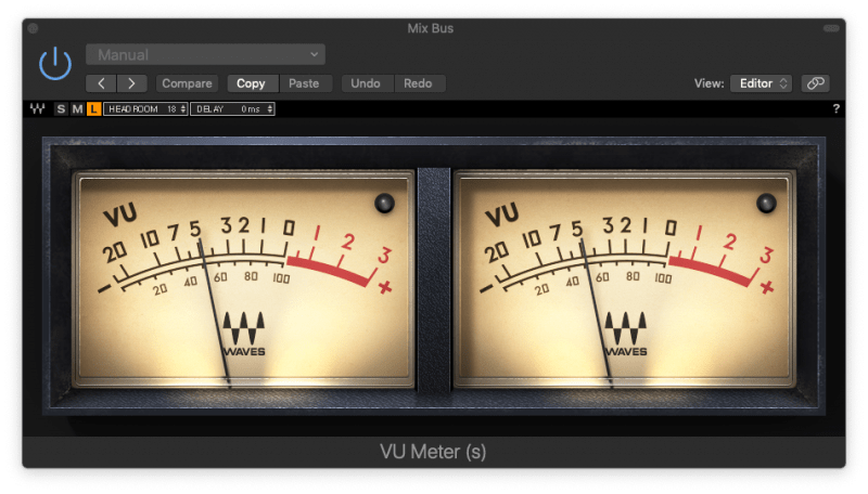 waves vu meter plugin sitting at -5 dBVU