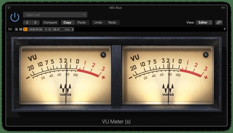 waves vu meter plugin sitting at -2 dBVU