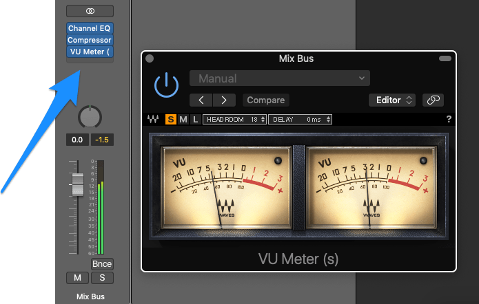 plugin chain with vu meter at the end