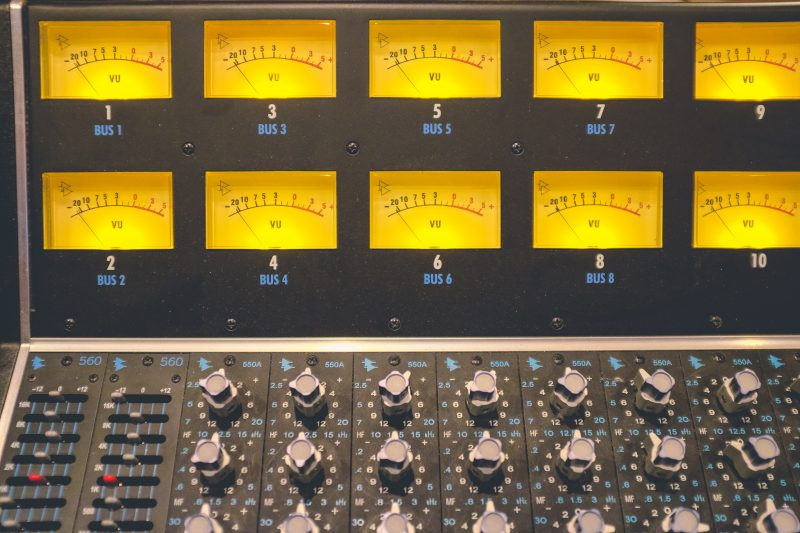 VU Meter on a mixing console