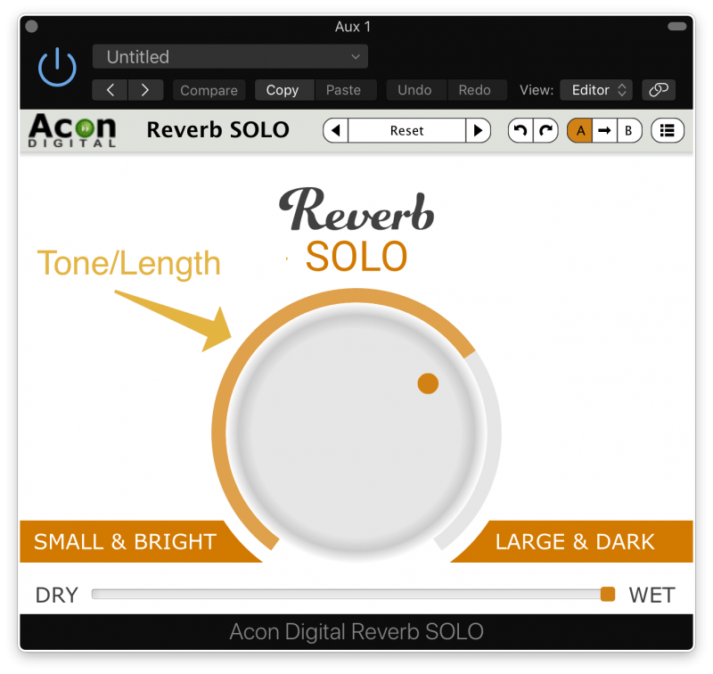 tone and length setting on reverb solo