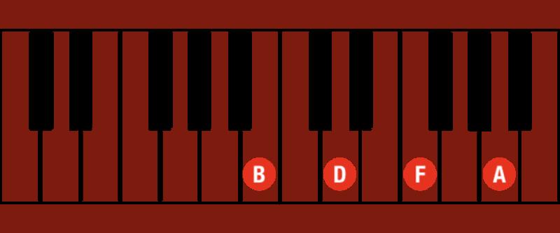 B half diminished chord