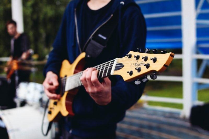 tan electric guitar