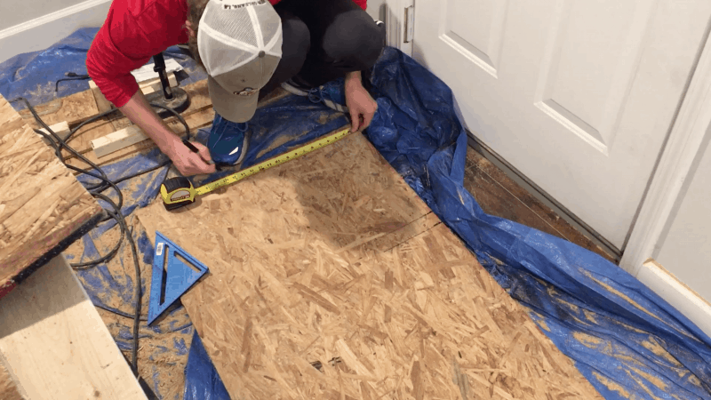 measuring osb board for cutting