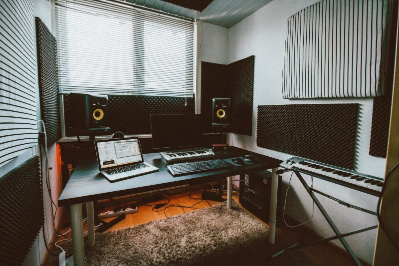 home studio with diy acoustic panels
