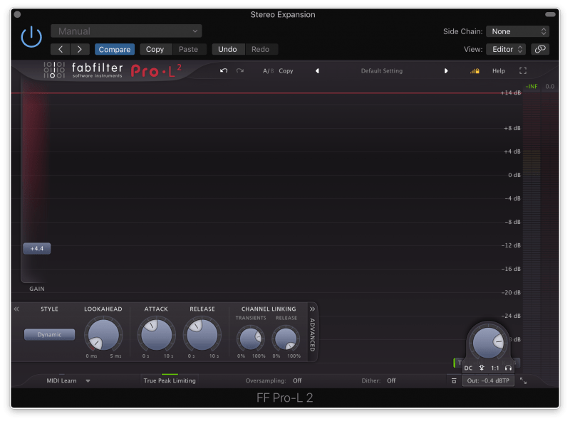 limiting the track with FabFilter Pro-L2