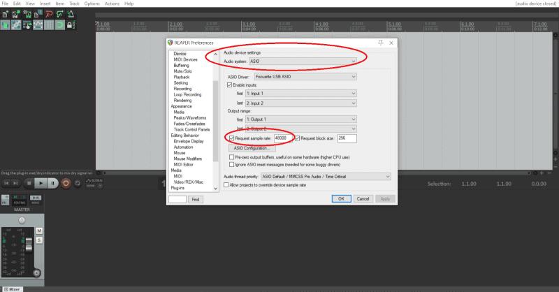 input and output settings with asio driver selected