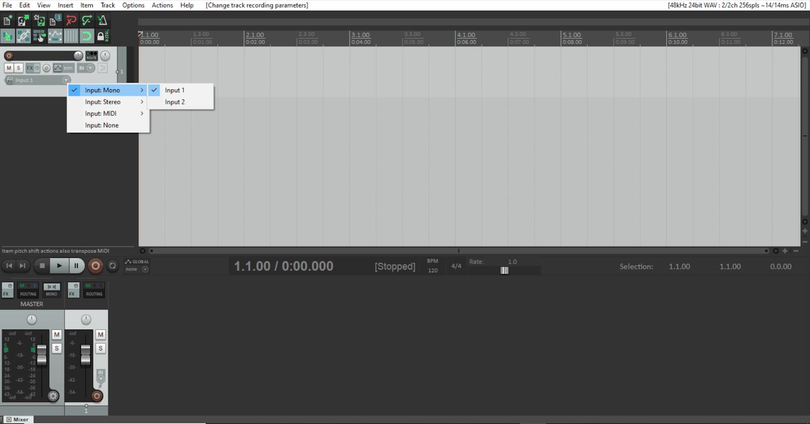 setting track input in reaper