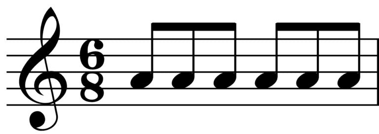 6/8 time signature notation