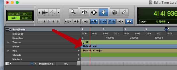 4/4 default time signature in pro tools