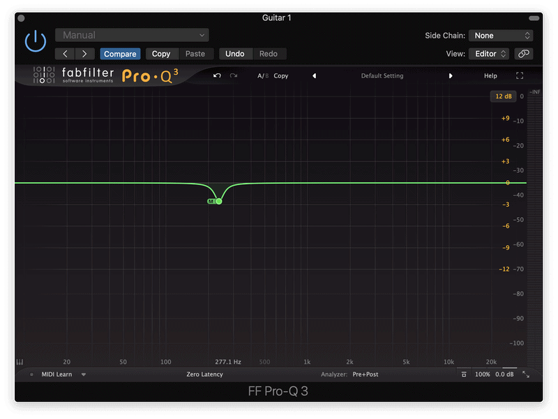 cutting the fundamental frequency of a guitar in the mid channel