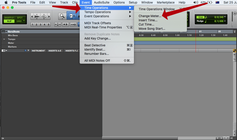 changing time signatures in pro tools