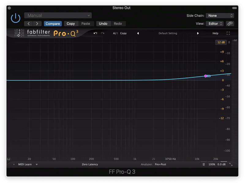 boosting the high frequencies on the sides of a sound