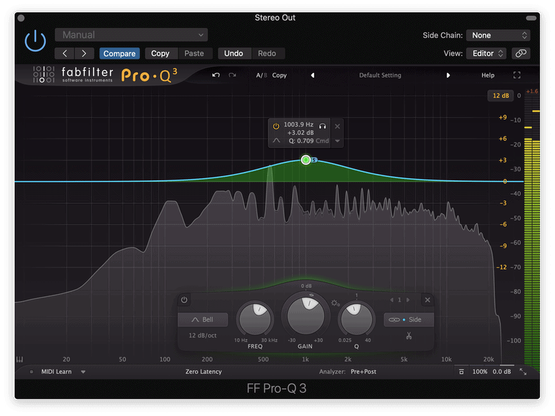 mid frequencies boosted in the mid channel