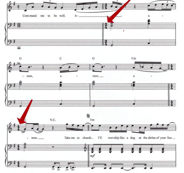 multiple time signatures in take me to church notation