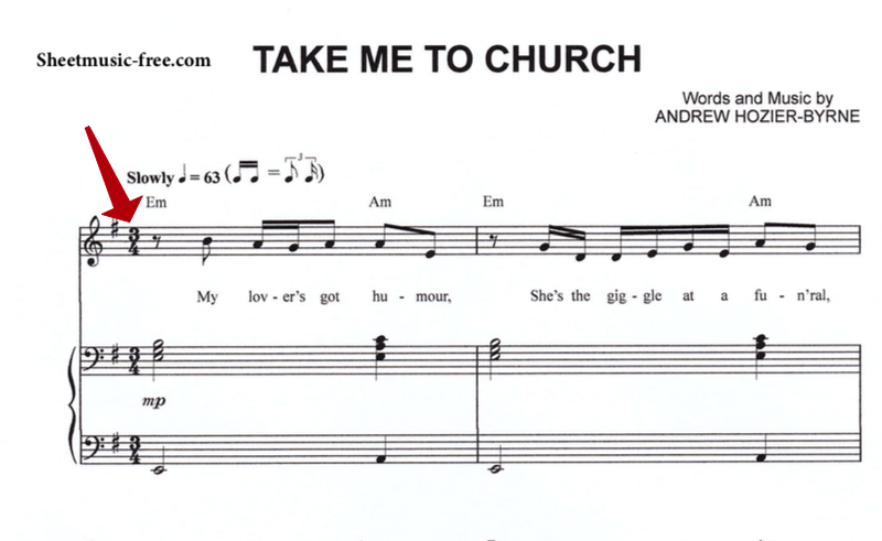 take me to church notation and time signature