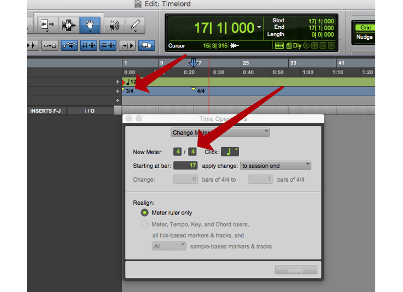 changing meter in pro tools