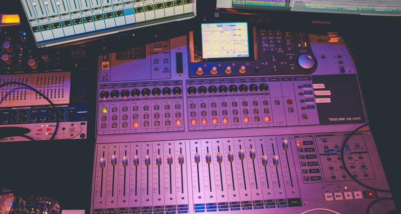 mixing console in a studio