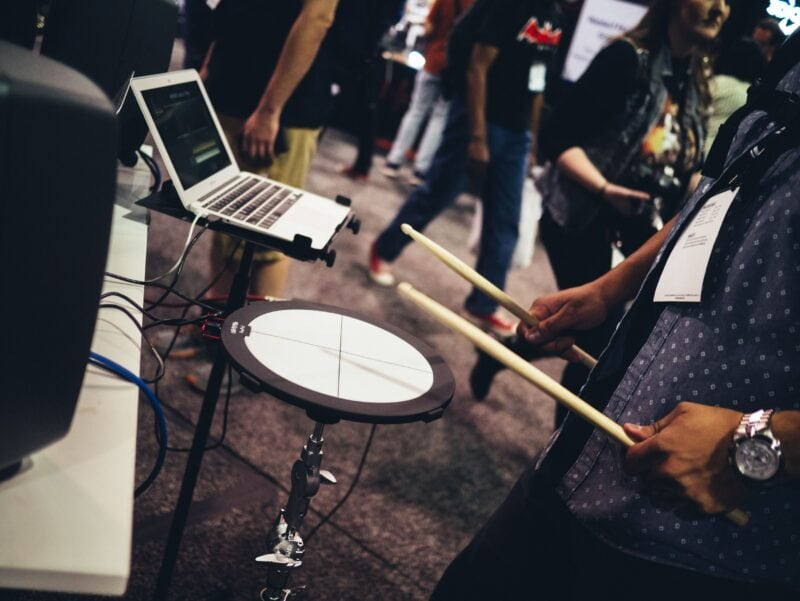 drummer playing an electric drum pad