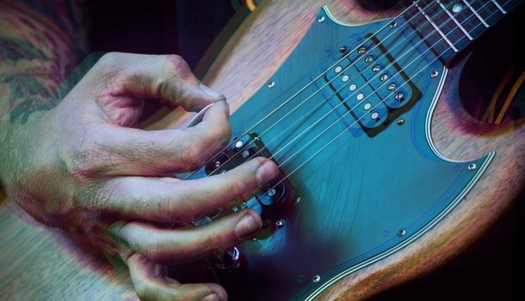 psychedelic looking guitar