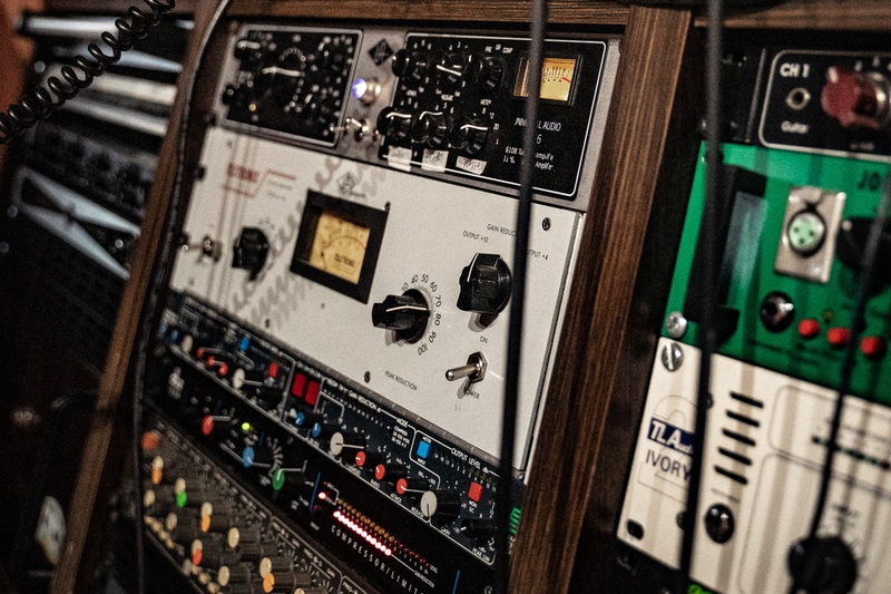 outboard gear in a recording studio